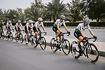 Team Dimension Data lined out during Stage 6 of the 10th Tour of Oman 2019, running 135.5km from Al Mouj Muscat to Matrah Corniche, Oman. 21st February 2019.<br /> Picture: ASO/P. Ballet | Cyclefile<br /> All photos usage must carry mandatory copyright credit (&copy; Cyclefile | ASO/P. Ballet)