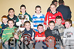 Receiving medals at the Rathmore GAA Juvenile awards night in Teach Iosagain were seated L/R: Brian Moynihan, Conor Buckley, Nicolas Lawlor, John OKeeffe, back Row: Anthony Darmody, Christopher Counihan, Cillian OConnor, Conor King, Gavin Breen, Derry McCarthy, and Timmy De Harty.