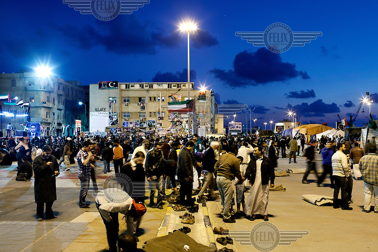 Every evening big crowds gather at the square next to the courthouse, the rebel headquarters. They have renamed the place Freedom Square. On 17 February 2011 Libya saw the beginnings of a revolution against the 41 year regime of Col Muammar Gaddafi..