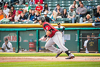 Adam Duvall (37) of the Sacramento River Cats during the game against the Salt Lake Bees in Pacific Coast League action at Smith's Ballpark on April 17, 2015 in Salt Lake City, Utah.  (Stephen Smith/Four Seam Images)