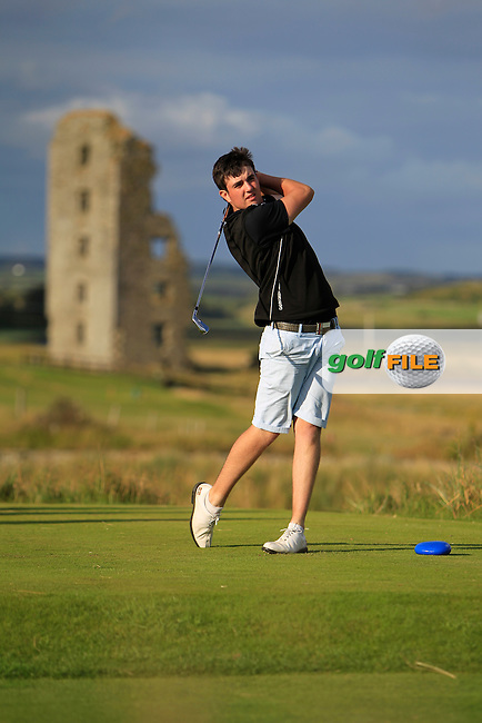 Jamie Sutherland (Galgorm Castle) on the 13th tee during the South of Ireland Amateur Open Championship 4th Round at Lahinch Golf Club  29th July 2013 <br /> Picture:  Thos Caffrey / www.golffile.ie