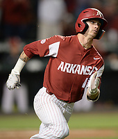 NWA Democrat-Gazette/ANDY SHUPE<br /> Arkansas shortstop Casey Martin heads to first after hitting a go-ahead, RBI single Friday, May 10, 2019, during the seventh inning against LSU at Baum-Walker Stadium in Fayetteville. Visit nwadg.com/photos to see more photographs from the game.