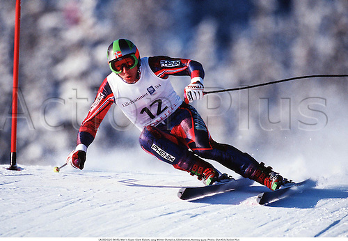 LASSE KJUS (NOR), Men's Super Giant Slalom, 1994 Winter Olympics, Lillehammer, Norway, 9402. Photo: Glyn Kirk/Action Plus...1994.olympic games.skiing.winter sport.winter sports.wintersport.wintersports.alpine.ski.skier.man