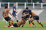 Quins pair Josh Lewis and Rhys Williams combine to stop Leinster centre Ben Te'o.<br /> British &amp; Irish Cup<br /> Carmarthen Quins v Leinster A<br /> Carmarthen Park<br /> 25.10.14<br /> &copy;Steve Pope-SPORTINGWALES