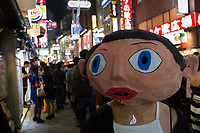 A Frank Sidebottom costume during the Halloween celebrations Shibuya, Tokyo, Japan. Saturday October 27th 2018. The celebrations marking this event have grown in popularity in Japan recently. Enjoyed mostly by young adults who like to dress up, drink , dance and misbehave in parts of Tokyo like Shibuya and Roppongi. There has been a push back from Japanese society and the police to try to limit the bad behaviour.