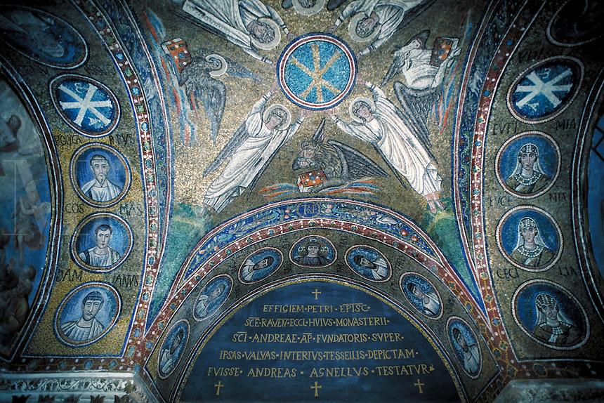 Religious mosaic ceiling in church. Ravenna Emilia-Romagna Italy Europe.
