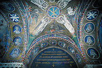 Religious mosaic ceiling in church. Ravenna Emilia-Romagna Italy Europe.