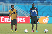 Andrea Pirlo and Mario Balotelli of Italy during training ahead of tomorrow's Group D match vs Uruguay