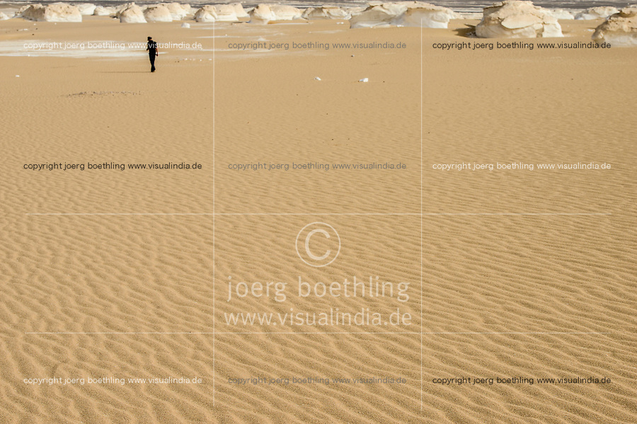 EGYPT, Farafra, Nationalpark White Desert , mushroom chalk rocks shaped by wind and sand erosion/ AEGYPTEN, Farafra, Nationalpark Weisse Wueste, durch Wind und Sand geformte Kalkfelsen