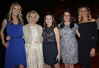 NWA Democrat-Gazette/CARIN SCHOPPMEYER Chaney Youngblood (from left), Mary Zettle, Kate Zettle, Cllare O'Brien and Tara Gartman Shaw help support the Northwest Arkansas Children's Shelter on March 4.