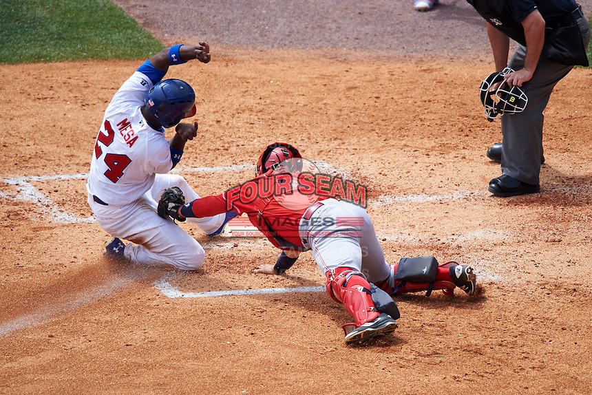 Louisville Bats catcher Raffy Lopez (9) tags out Melky Mesa (24) sliding into home during a game against the Buffalo Bisons on June 23, 2016 at Coca-Cola Field in Buffalo, New York.  Buffalo defeated Louisville 9-6.  (Mike Janes/Four Seam Images)