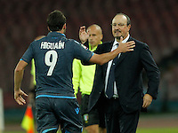 Gonzalo Higuain  and  Rafael Benitez  SSC Napoli and Verona  at San Paolo stadium in Naples, October 26, 2014