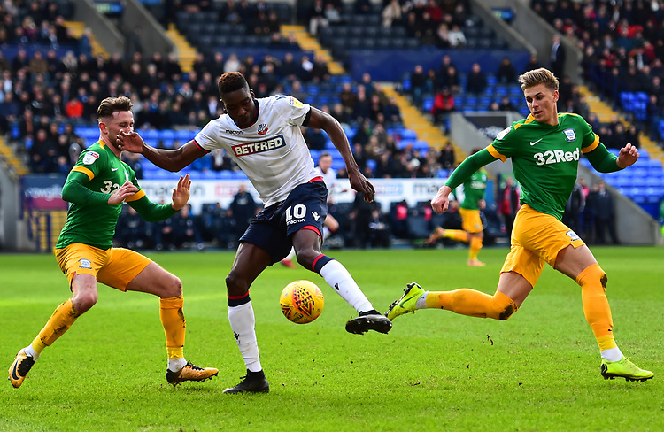 Preston North End's Alan Browne and Brad Potts compete with Bolton Wanderers' Sammy Ameobi<br /> <br /> Photographer Richard Martin-Roberts/CameraSport<br /> <br /> The EFL Sky Bet Championship - Bolton Wanderers v Preston North End - Saturday 9th February 2019 - University of Bolton Stadium - Bolton<br /> <br /> World Copyright © 2019 CameraSport. All rights reserved. 43 Linden Ave. Countesthorpe. Leicester. England. LE8 5PG - Tel: +44 (0) 116 277 4147 - admin@camerasport.com - www.camerasport.com