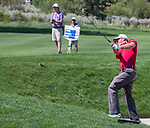 Tom Hoge swings on the 2nd fairway during the Barracuda Championship PGA golf tournament at Montrêux Golf and Country Club in Reno, Nevada on Saturday, July 27, 2019.