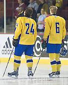 Marcus Jonsson (Sweden - 24), John Klingberg (Sweden - 6) - Sweden's Under-20 team played its last game on this Massachusetts tour versus the University of Massachusetts-Amherst Minutemen losing 5-1 on Saturday, November 6, 2010, at the Mullins Center in Amherst, Massachusetts.