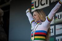 Inge van der Heijden (NED) surprisingly finishing 1st and thus becoming the new U23 World Champion<br /> <br /> Women U23 race.<br /> <br /> UCI 2019 Cyclocross World Championships<br /> Bogense / Denmark<br /> <br /> <br /> &copy;kramon