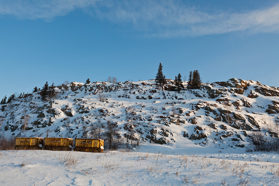 A set of three mine cars sits on the track near Yellowknife in early January.