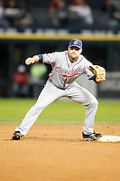 August 7, 2009:  Second Baseman Jamey Carroll (11) of the Cleveland Indians gets a throw during a game vs. the Chicago White Sox at U.S. Cellular Field in Chicago, IL.  The Indians defeated the White Sox 6-2.  Photo By Mike Janes/Four Seam Images