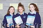 Amy Walsh, Ciara Sheehan and Sarah O'Mahony at the Castleisland Presentation school awards night on Wednesday evening