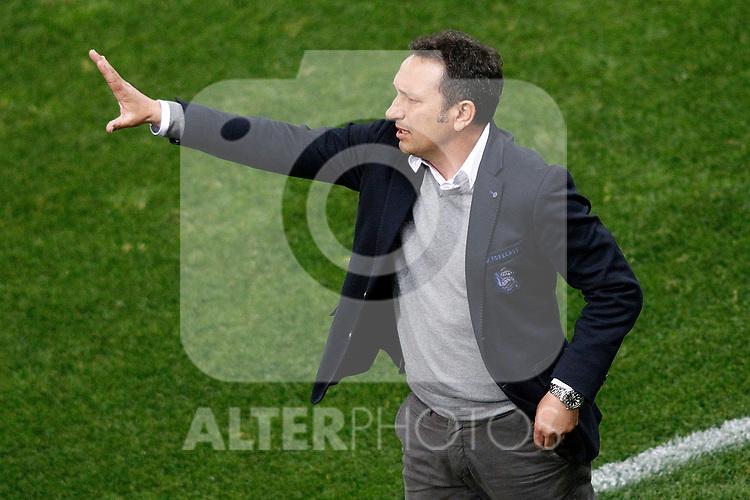 Real Sociedad's coach Eusebio Sacristan during La Liga match. April 4,2017. (ALTERPHOTOS/Acero)