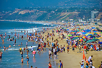 Santa Monica, CA, Crowded Beach, Summer, Umbrellas, activities High dynamic range imaging (HDRI or HDR)