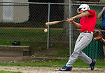 WINSTED , CT-080720JS12—Winsted's Kyle Matthews (29) rips an RBI base hit during their CTEBA U19 playoff game with Waterford Friday at Walker Field in Winsted. <br /> Jim Shannon Republican-American