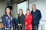 Niamh Dwyre, left, guidance councillor. Kerry Branch, about to give a talk on supporting students through career decisions as part of Collage awareness week in the brand new Kerry Sports Academy, at the Institute of technology, Tralee, North Campus last Tuesday evening Nov 19.L-R Niamh Dwyre, Lisa Egan with Joan&Nealie Warren.