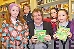 BOOK LAUNCH: Moyvane author, Gabriel Fitzmaurice was joined at the launch of his new children's book in Woulfe's Bookshop, Listowel on Friday by Caoimhe O'Connell, Ryan Large, Megan Large and Keira Large.