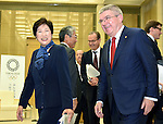 October 18, 2016, Tokyo, Japan - Thomas Back, International Olympic Committee president, meets with Gov. Yuriko Koike during their meeting at the City Hall in Tokyo on Tuesday, October 18, 2016. The IOC chief and the governor discussed a proposed move of the rowing and canoe events out of Tokyo as part of her attempt to cut back on spending for the 2020 Tokyo Olympics.  (Photo by Natsuki Sakai/AFLO) AYF -mis-