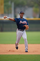 Atlanta Braves Darling Florentino (18) during practice before a Minor League Spring Training game against the New York Yankees on March 12, 2019 at New York Yankees Minor League Complex in Tampa, Florida.  (Mike Janes/Four Seam Images)