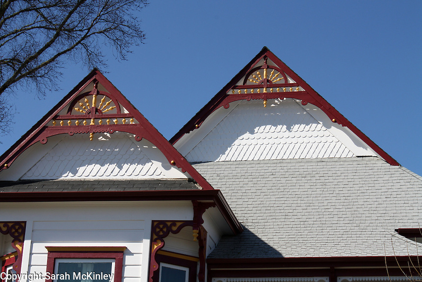 Ornate gables on a house on School Street in Willits in Mendocino County in Northern California.