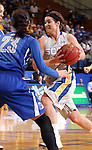 BROOKINGS, SD - MARCH 23:  Steph Paluch #15 from South Dakota State pushes the ball past Marissa Janning #23 from Creighton in the first half of their WNIT game Sunday afternoon at Frost Arena in Brookings. (Photo by Dave Eggen/Inertia)