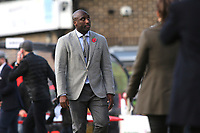 Southend Manager, Sol Campbell glances up at some fans as he walks off the pitch after losing to Dover in the FA Cup during Dover Athletic vs Southend United, Emirates FA Cup Football at the Crabble Athletic Ground on 10th November 2019