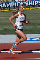 Providence fifth-year senior and Parkway Central High School graduate Emily Sisson runs to victory in the 5k in 15:34.10 Saturday, at the NCAA Division I Outdoor Track and Field Championships in Eugene, Or.  It was the second career title for Sisson who won this year's Indoor Championships 5k after setting the collegiate record earlier in the indoor season.