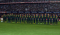 The South African team sings the National Anthem during the 2nd Castle Lager Incoming Series Test match between South Africa and France at Growthpoint Kings Park on June 17, 2017 in Durban, South Africa. Photo: Steve Haag / stevehaagsports.com