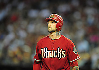 Jun. 15, 2011; Phoenix, AZ, USA; Arizona Diamondbacks third baseman Ryan Roberts against the San Francisco Giants at Chase Field. Mandatory Credit: Mark J. Rebilas-