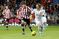 Real Madrid CF vs Athletic Club de Bilbao (5-1) at Santiago Bernabeu stadium. The picture shows Luka Modric and Ander Iturraspe. November 17, 2012. (ALTERPHOTOS/Caro Marin) NortePhoto