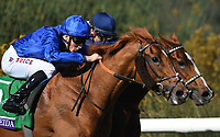 DEL MAR, CA - NOVEMBER 04: Wuheida #5, ridden by William Buick is ahead by a nose during the Breeders' Cup Filly and Mare Turf race on Day 2 of the 2017 Breeders' Cup World Championships at Del Mar Racing Club on November 4, 2017 in Del Mar, California. (Photo by Jamey Price/Eclipse Sportswire/Breeders Cup)
