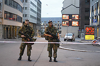 (Oslo July 23, 2011) Soldiers from the King's Guard guard the city centre the day after a shooting spree by a lone gunman who killed over 80 youths.<br /> <br /> A large vehicle bomb was detonated near the offices of Norwegian Prime Minister Jens Stoltenberg on 22 July 2011. Although Stoltenberg was reportedly unharmed the blast resulted in several injuries and deaths. <br /> Another terrorist attack took place shortly afterwards, where a man killed over 80 children and youths attending a political camp at Ut&oslash;ya island. <br /> <br /> Anders Behring Breivik was arrested on the island and has admitted to carrying out both attacks.<br /> <br /> (photo:Fredrik Naumann/Felix Features)