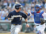Norichika Aoki (Brewers), Welington Castillo (Cubs),.APRIL 8, 2013 - MLB :.Norichika Aoki of the Milwaukee Brewers and catcher Welington Castillo of the Chicago Cubs during the baseball game at Wrigley Field in Chicago, Illinois, United States. (Photo by AFLO)