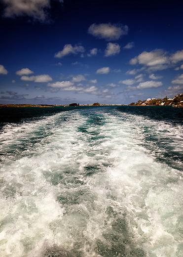 Wake of the ferry in Hamilton, Bermuda