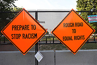 WASHINGTON D.C. - JUNE 27: View of Black Lives Matters Plaza with signs reading 'Prepare To Stop Racism' and 'Rough Road To Equal Rights' in Advance of Another Busy Weekend in Washington D.C. on June 27, 2020. <br /> CAP/MPI43<br /> ©MPI43/Capital Pictures