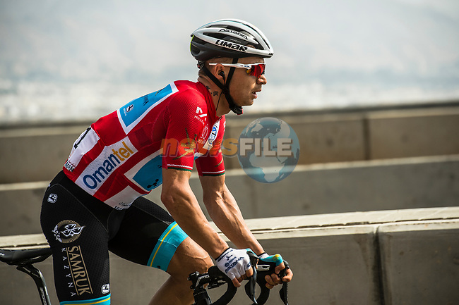 Race leader Alexey Lutsenko (KAZ) Astana Pro Team climbs during Stage 4 of 10th Tour of Oman 2019, running 131km from Yiti (Al Sifah) to Oman Convention and Exhibition Centre, Oman. 19th February 2019.<br /> Picture: ASO/Kåre Dehlie Thorstad | Cyclefile<br /> All photos usage must carry mandatory copyright credit (© Cyclefile | ASO/Kåre Dehlie Thorstad)