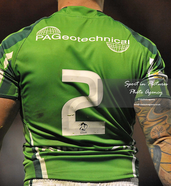 Back of Damien Blanch (Ireland) shirt  - PHOTO: Mandatory by-line: Garry Bowden/SIPPA/Pinnacle - Photo Agency UK Tel: +44(0)1363 881025 - Mobile:0797 1270 681 - VAT Reg No: 768 6958 48 - 28/10/2013 - Rugby League World Cup 2013, Fiji v Ireland, Spotland Stadium, Rochdale, England