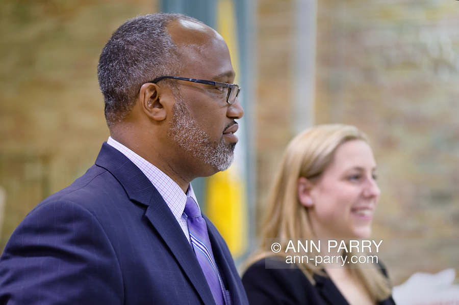 Levittown, New York, USA. June 4, 2018. Debate between Congressional District 2 Democratic primary candidates Suffolk County Legislator DuWayne Gregory and Liuba Grechen Shirley, held by Seaford Wantagh Democratic Club at Levittown Hall. The primary winner will challenge Republican encumbent Pete King in November election.