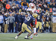 Annapolis, MD - November 11, 2017: Navy Midshipmen safety Juan Hailey (13) hits Southern Methodist Mustangs tight end Raymond Epps (11)during the game between SMU and Navy at  Navy-Marine Corps Memorial Stadium in Annapolis, MD.   (Photo by Elliott Brown/Media Images International)