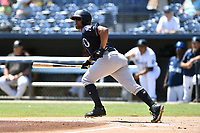 Charleston RiverDogs Canaan Smith (15) runs to first base during a game against the Asheville Tourists at McCormick Field on August 18, 2019 in Asheville, North Carolina. The Tourists defeated the RiverDogs 6-5. (Tony Farlow/Four Seam Images)