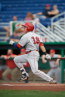 Auburn Doubledays designated hitter Jacob Rhinesmith (18) follows through on a swing during a game against the Batavia Muckdogs on September 2, 2018 at Dwyer Stadium in Batavia, New York.  Batavia defeated Auburn 5-4.  (Mike Janes/Four Seam Images)