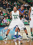 North Texas Mean Green forward Kedrick Hogans (24) in action during the game between the New Orleans Privateers and the University of North Texas Mean Green at the North Texas Coliseum,the Super Pit, in Denton, Texas. UNT defeated UNO 78 to 47.....