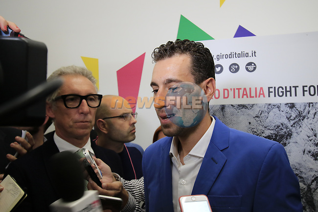 Il Lombardia winner Vincenzo Nibali (ITA) talks to the media at the Giro d'Italia 2016 Presentation held at Expo Milano, Milan, Italy. 5th October 2015.<br /> Picture: Eoin Clarke | Newsfile